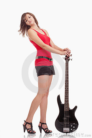Girl with bass guitar