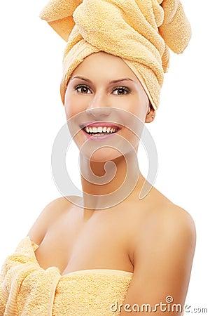 Girl in bath towel