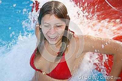 The girl bathes
