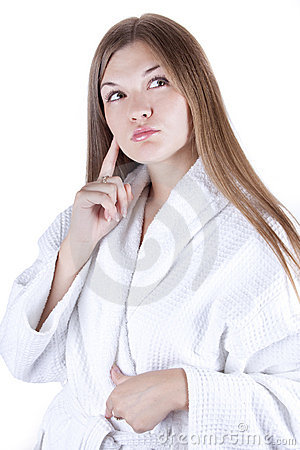 Girl in a bathrobe