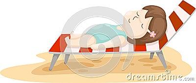 Girl on beach bed vector