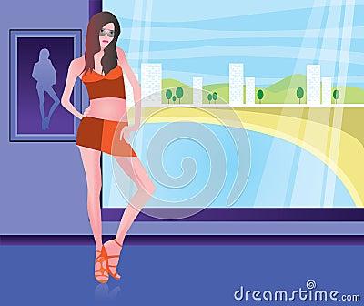 Girl in the beach resort