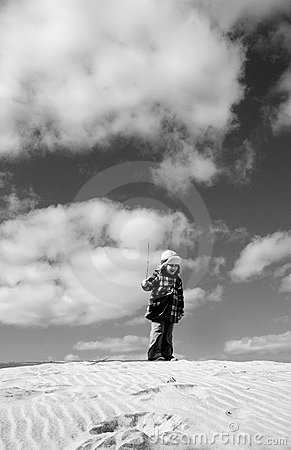Girl on Beach in Winter