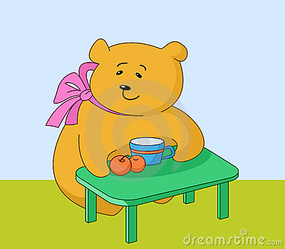Girl-bear with peaches