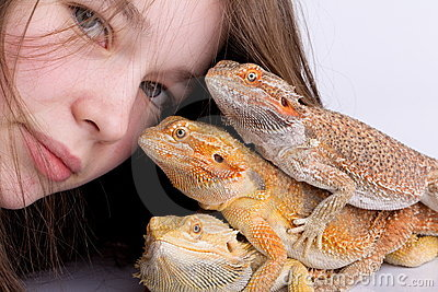 Girl with Bearded Dragons