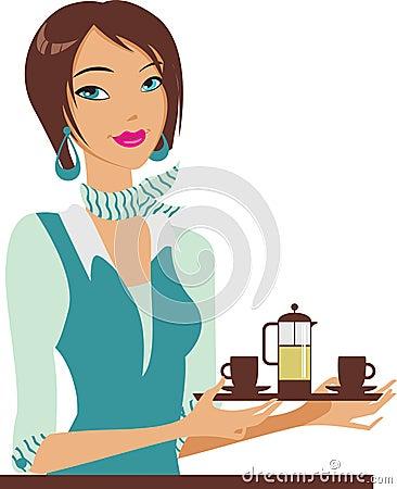 Girl bearing a teapot