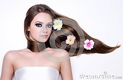 Girl with beautiful long straight gloss hair