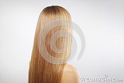 Girl with beautiful straight hair