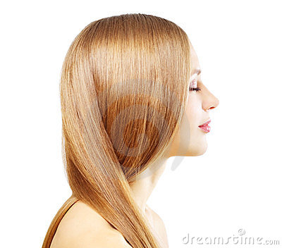 Girl with beautiful straight hair