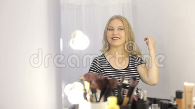 Girl in a beauty salon stock footage