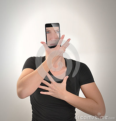 Free Girl Becomes Smartphone On White Royalty Free Stock Images - 49554389