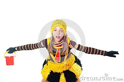 Girl in bee dress