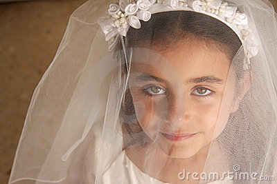 Girl behind veil