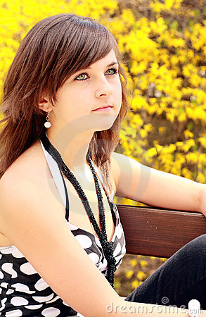Girl On Bench Stock Images - Image: 9591944