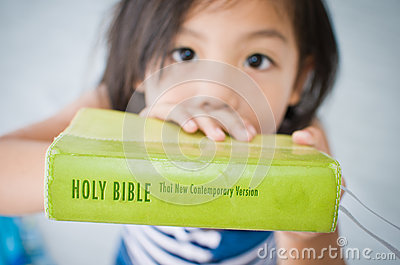 Girl and Bible.