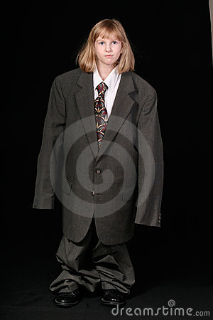 Girl in Big Business Suit