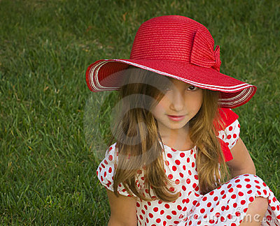 Girl With Big, Floppy Red Hat