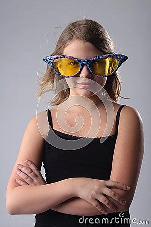 Girl in big glasses.