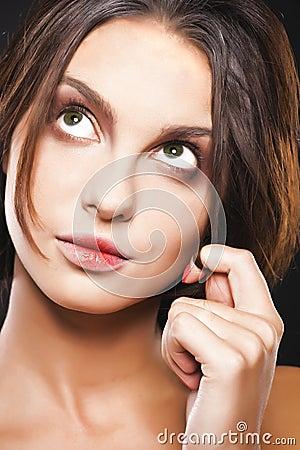 Girl with big green eyes