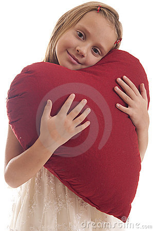 Girl with big red heart