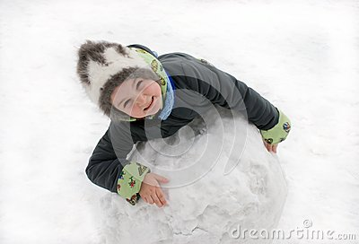 The girl with the big snow sphere