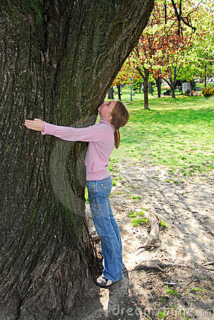 Girl and big tree