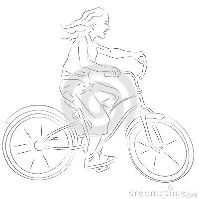 Girl on a bike sketch