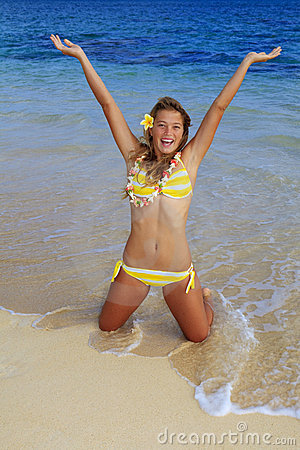 Girl in a bikini at a hawaii beach