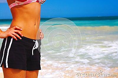 Girl in Bikini and Shorts on the Beach