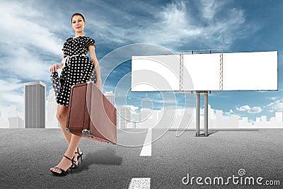 Girl and billboard