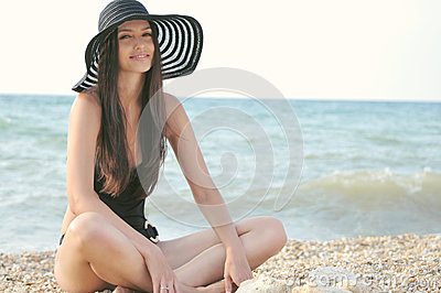 The girl in a black bathing suit