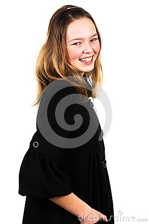 Girl in a black coat