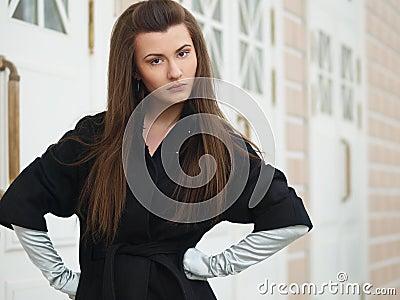 Girl in a black coat
