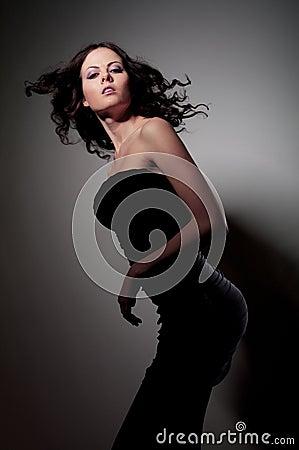 Girl in black dress dance