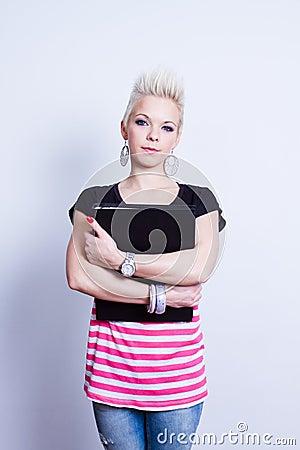 Girl with black folder
