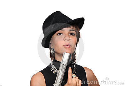 Girl in black hat with a gun