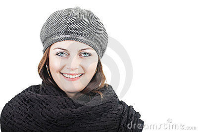 Girl in black scarf and hat