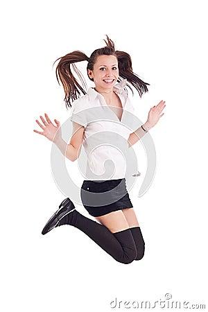 Girl in black short skirt jumping