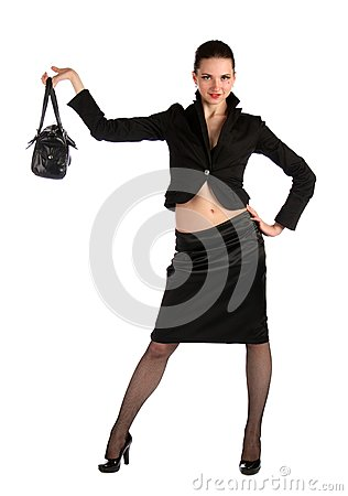 Girl in black suit demonstrate bag.