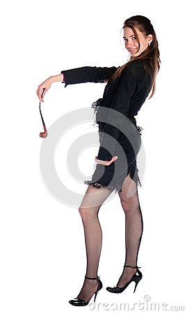 Girl in black suit with tobacco-pipe.