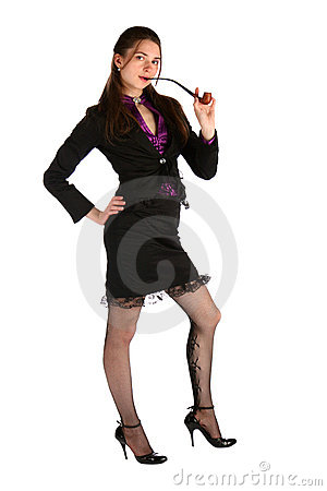 Girl in black suit with tobacco pipe.