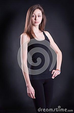 The girl in a black vest
