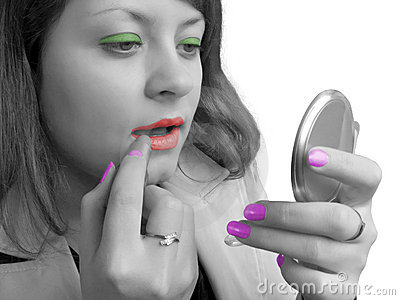Girl (black-white) and cosmetics (coloured)