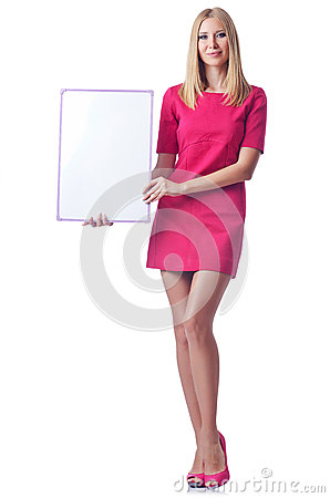 Girl with blank board