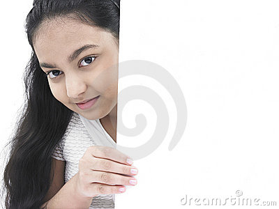 Girl with a blank board