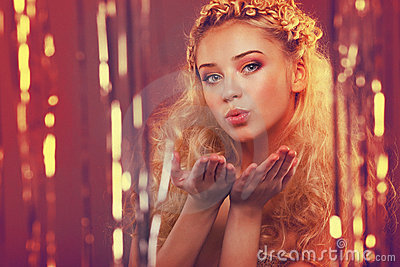 Girl with blond curly hair