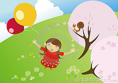 Girl in a blooming meadow