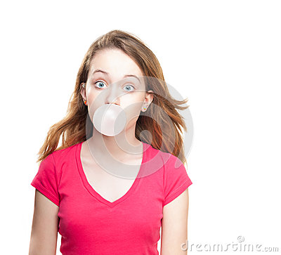 Free Girl Blowing Bubble From Chewing Gum Royalty Free Stock Images - 24679639