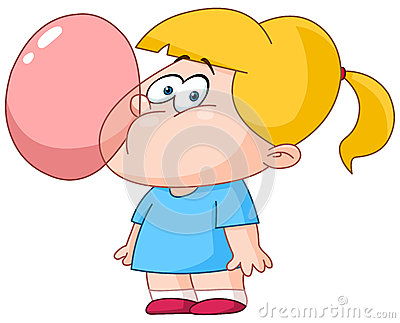 Girl blowing bubble from gum
