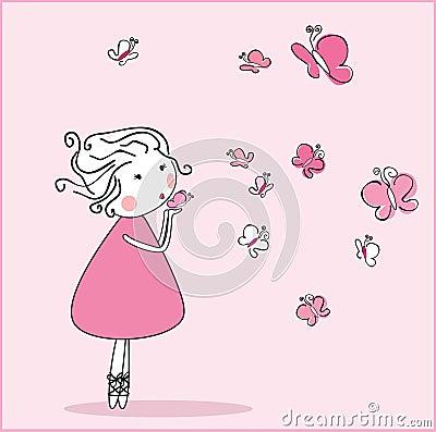 Girl blowing butterflieas